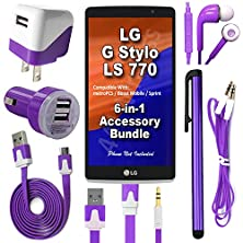 buy 441 Wireless 6 Item Bundle For Lg G Stylo Ls770 H631(Boost Cricket Metro Sprint T-Mobile) Includes: Car Charger, Home Charger, Cable, Headphones, Auxiliary Cord & Stylus Pen (6 Piece Kit - Purple)