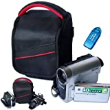 First2savvv black professional heavy duty digital camcorder carrying case bag for SONY HDR-CX280E HDR-CX220E HDR-GW66VE HDR-AS15 HDR-AS30 HDR-MV1 HDR-TD30VE HDR-GW77E HDR-GW77VE DCR-SX22E with card reader