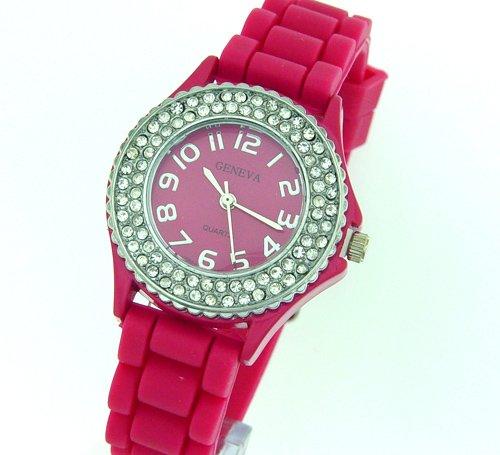 NEW Designer Ladies HOT Pink Round Analog PU Band Watch