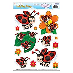 Club Pack of 156 Springtime Lady Bug Window and Glass Cling Decorations 17\