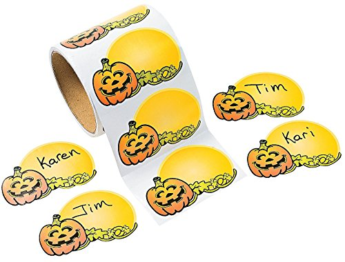 "Jack-o'-lantern Name Tags (100 Pack) 33/8"" X 21/4"". Paper."