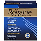 Rogaine Mens Regrowth X-Strength 5 Percent Unscented 3-60ml (2fl oz) bottles
