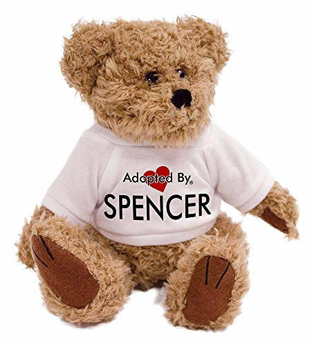 adopted-by-spencer-teddy-bear-wearing-a-personalised-name-t-shirt