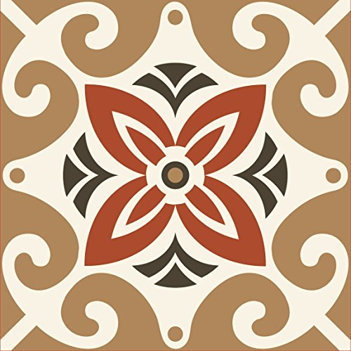 Tiva Design Art Removable Square Ethnic Tile Decals Vinyl DIY Wall Stickers, Set of 12, Brown and White 1206 (Removable Tile Floor compare prices)