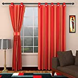 SEVEN STARS 1 Piece Cotton Striped Window Curtain - 5 ft, Red