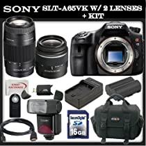<strong><a href='http://www.it-firstcare.com/view_company.php?from=Sony&pageid=1'>Sony</a></strong> a (alpha) SLT-A65VK - Digital camera - SLR - 24.3 Mpix - 18-55mm f/3.5-5.6 DT - <strong><a href='http://www.it-firstcare.com/view_company.php?from=Sony&pageid=1'>Sony</a></strong> AF D 75-300mm f/4.5-5.6 Lens - SSE Package: Wireless Remote, Replacement FM500H Battery, Rapid Travel Charger, 16GB SDHC Memory Card, Card Reader, Shoe Mount Flash, Carrying Case, HDMI Cable & SSE Microfiber Cleaning Cloth