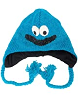 Smiley-Monster Blau - Strickmütze mit Monster-Charakter im Nepal Stil (Monster Hat)