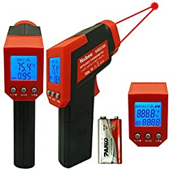 Nubee VF-EQNR-9HUU-CA Dual Laser Optical Focus Temperature Gun Non-contact Infrared IR Thermometer Range -58F to 1022F with Dual Laser Sight Includes Battery MAX Display