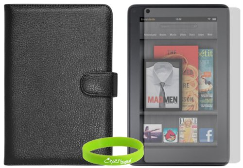 CrazyOnDigital Folio Black Leather Case with Screen Protector For Amazon Kindle FIRE. CrazyOnDigital Retail Package