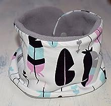 Braga de cuello ajustable con estampado de Plumas, bufanda infinita con forro polar en la cara interna y snaps de plástico, disponible en tallas de recién nacido hasta 6 años.