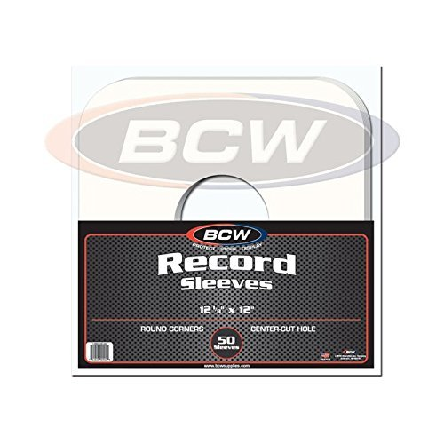 50 33 1/3 RPM 12 LP / Album White Paper Vinyl Record Sleeves / Protectors - Heavy 20# Weight Paper With Hole For Viewing Label by BCW