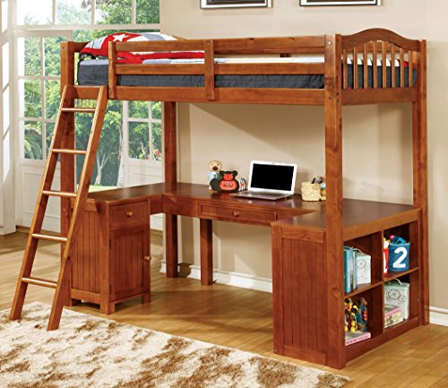 Furniture of America Lavinia Twin Loft Bed with Workstation, 41.625 by 80 by 75-Inch, Oak (Loft Beds For Kids With Desk compare prices)