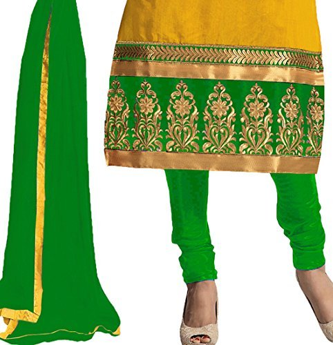 Women's Latest Fashion Designer Fancy Party Wear Collecton Todays Fetive Offer All Type Of Modern Yellow Colored Embroidered Chudidar Salwar Suit