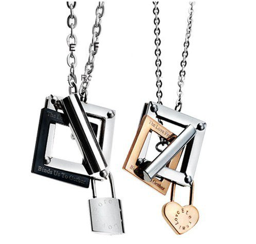 Opk Jewellery Fashion Stainless Steel Necklace Square Charm Lockets Lock For Men And Heart Pendants For Women