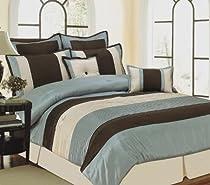8pc Gold and Chocolate Luxury 8 piece Comforter Set Atlantis Red