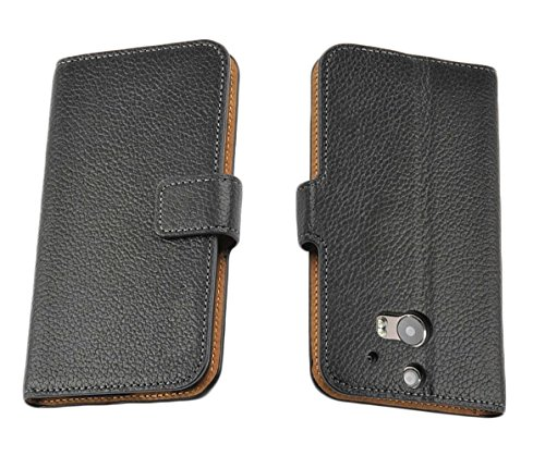 Mylife Ebony Black {Slim Design} Faux Leather (Card, Cash And Id Holder + Magnetic Closing) Slim Wallet For The All-New Htc One M8 Android Smartphone - Aka, 2Nd Gen Htc One (External Textured Synthetic Leather With Magnetic Clip + Internal Secure Snap In