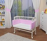 WALDIN Cuna colecho para bebé, cuna para bebé, con protector y colchón, lacado en blanco,rosa