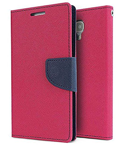 MAHI MAX WALLET FLIP CASE COVER WITH CARD SLOTS,MAGNETIC CLOSURE FOR MICROMAX CANVAS SPARK Q380 -(PINK,BLUE)