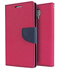 Mahi Max Flip Case Cover With Card Slots And Magnetic Closure For Micromax Canvas UNITE 2 A106 -(PINK,BLUE)