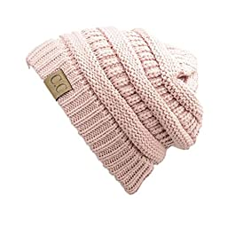 Trendy Warm Chunky Soft Stretch Cable Knit Slouchy Beanie Skully HAT20A (Light Pink)