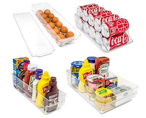Sorbus® Fridge Bins and Freezer Organizer Refrigerator Bins Stackable Storage Containers BPA-Free Drawer Organizers for Refrigerator Freezer and Pantry Storage