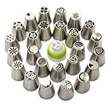 Russian Piping Tips 46 Pcs/SET-25 Russian Tips+20 Disposable Pastry Bags+1 Tri-color Coupler-304 Stainless Steel Large Size Icing Tips Set with Online Video Instructions | Lifetime Guarantee