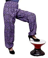 Cotton Floral Genie Harem Pants Boho Gypsy Trousers Free Size (Purple)