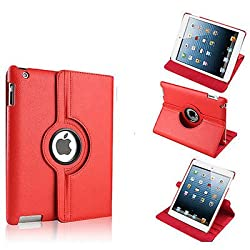 RKA 360 Rotating PU Leather Stand Case Cover For Apple ipad Air 5th Gen New Red