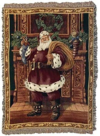 Fireplace Santa Christmas Holiday Tapestry Throw Blanket 50