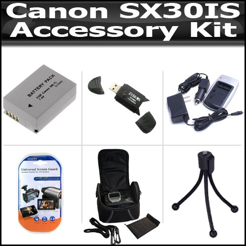 Accessory Kit For The Canon SX30IS SX30 IS Digital Camera Includes USB 2.0 High Speed Card Reader + Extended Replacement NB-7L (1300 mAH) Battery + Ac/Dc Rapid Battery Charger + Deluxe Case + Clear LCD Screen Protectors + More