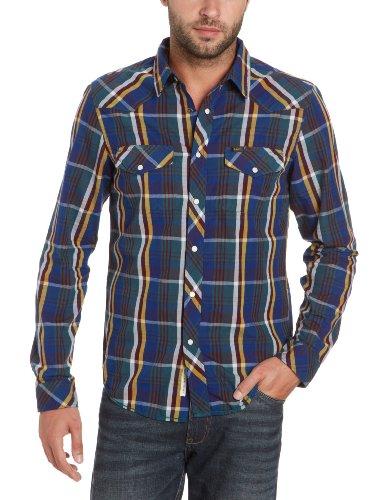 Lee Men's Slim Western - L871Pady Casual Shirt Blue (Night Blue) 60/62
