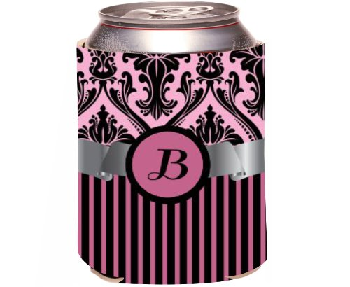 "Rikki Knight Beer Can Soda Drinks Cooler Koozie, Letter ""B"" Initial Monogrammed Design, Damask And Stripes, Light Pink front-641724"