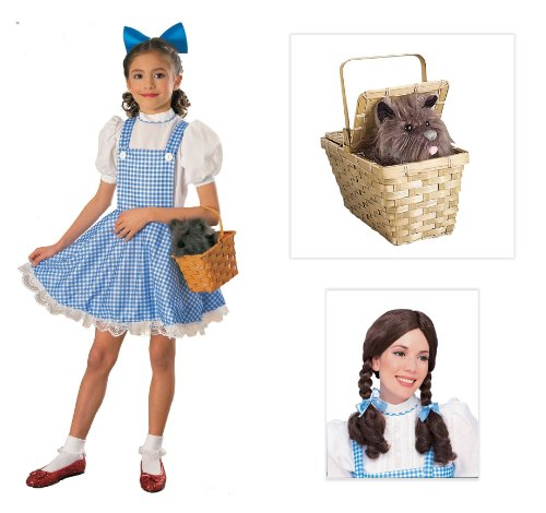 The Wizard of Oz Dorothy Deluxe Child Costume with Wig and Toto in Basket - Medium
