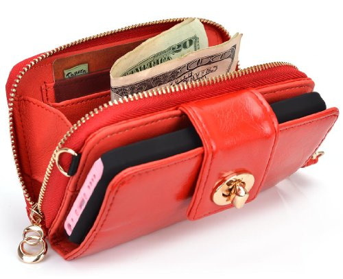 Best Price Geek by KROO Woman's Wristlet Built-in Stand Wallet Clutch for Apple iPhone 5 (Fits 16GB 32GB 64GB) - Mandarin Red / Glossy Finish + Includes EnvyDeal Velcro Tie