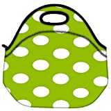Snoogg Green Polka Dotted Travel Outdoor Carry Lunch Bag Picnic Tote Box Container Zip Out Removable Carry Lunchbox...