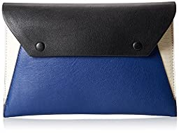 BCBG Colorblock Envelope Clutch, Blue Combo, One Size