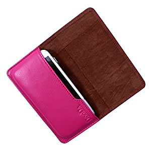 Dooda Genuine Leather Flip Pouch Case For Samsung Galaxy Young (PINK)