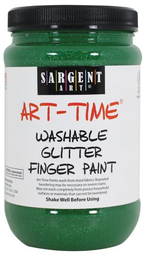 Sargent Art 22-9266 16-Ounce Art Time Washable Glitter Finger Paint, Green