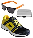 Spot On Men's Navy Blue Yellow Running Shoes With Lotto Sunglasses And Cardholder Combo UK-6