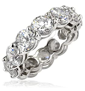 Cubic Zirconia Eternity Band with Airline, each stone is 0.5CT, 5mm diameter in Platinum - size 18