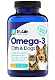 #1 Best Omega 3 for Dogs and Cats - Wild Alaskan Salmon Oil - All Natural Fish Oil Supplements for Pets - For Healthy Skin and Shiny Coat - No Fishy Smells - 500mg - 120 Easy to Swallow Capsules