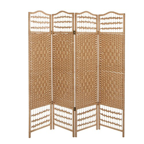 4 panel beige wood woven design decorative partition for Wood privacy screen panels