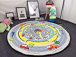 INCX Cotton Baby Play Mat Cute Children Rug/Mat Toy Storage Bag Organizer 59x59 Inch