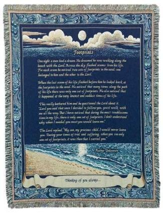 Footprints Deluxe Woven Inspirational Tapestry Throw Blanket Usa Made