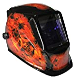 True-Fusion Big One-Flame 100x90mm Large Viewing Area Solar Powered Auto-Darkening Welding Helmet/Grind Mask with FREE Storage Bag, Spare Lenses and spare Sweatband included