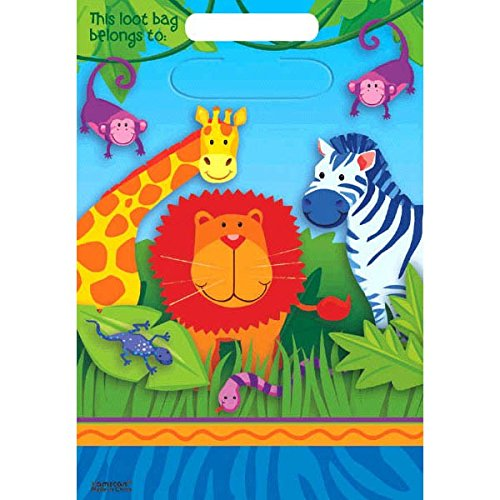 "Colorful Jungle Animals Birthday Party Loot Bags, 9 x 6-1/2"", Multi"