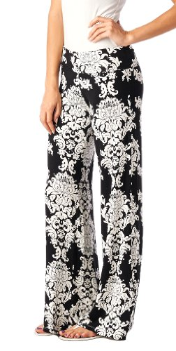 Popana Damask Palazzo Pants - Made In USA black, Medium (Womens Casual Pants compare prices)