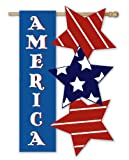 America with Stars Sculpted Artistic Blends Garden Size Flag