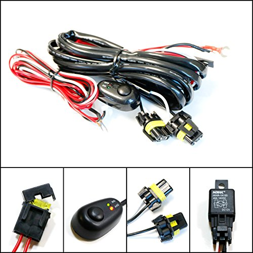 iJDMTOY (1) 9005 9006 H10 Relay Harness Wire Kit with LED Light ON/OFF Switch For Aftermarket Fog Lights, Driving Lights, HID Conversion Kit, LED Work Lamp, etc (3 Universal Fog Lights compare prices)