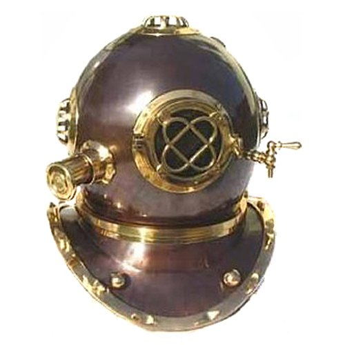 Full-Size Antique Reproduction U.S. Navy Mark-V Brass Diving Helmet
